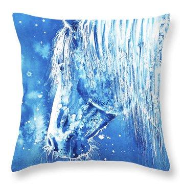 Throw Pillow featuring the painting Blue Horse by Zaira Dzhaubaeva