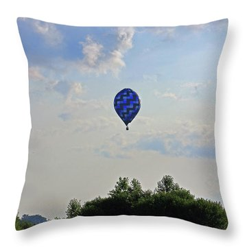 Throw Pillow featuring the photograph Blue Hot Air Balloon by Angela Murdock