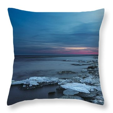Blue Hour At Lake Peipus Throw Pillow