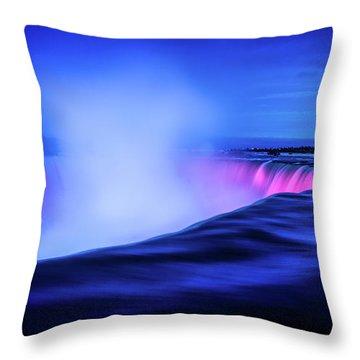 Blue Hour At Niagara Falls Throw Pillow