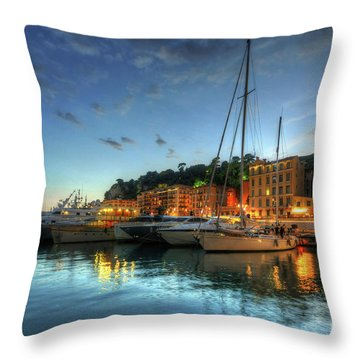 Throw Pillow featuring the photograph Blue Hour At Port Nice 2.0 by Yhun Suarez