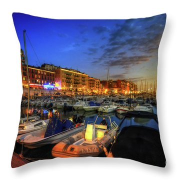 Throw Pillow featuring the photograph Blue Hour At Port Nice 1.0 by Yhun Suarez