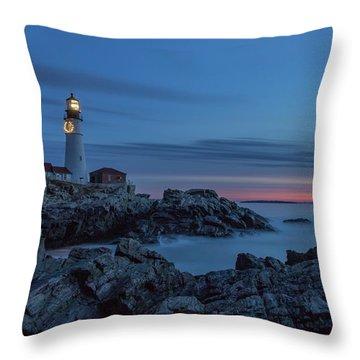 Blue Hour At Portland Head Light Throw Pillow