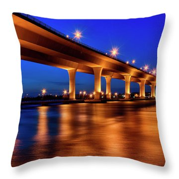Throw Pillow featuring the photograph Blue Hour At Roosevelt Bridge In Stuart Florida  by Justin Kelefas