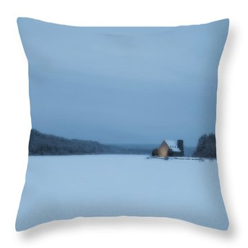 Blue Hour At The Old Stone Church Throw Pillow