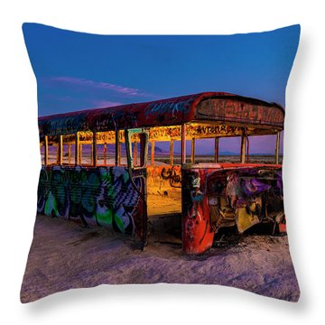 Blue Hour Bus Throw Pillow