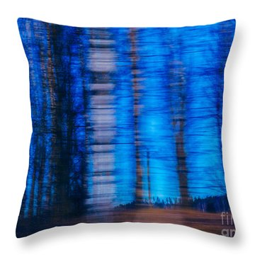 Blue Hour In Birch Forest Throw Pillow