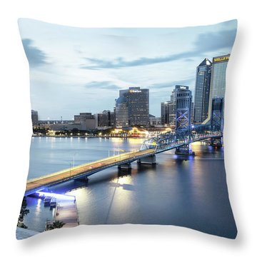 Blue Hour In Jacksonville Throw Pillow