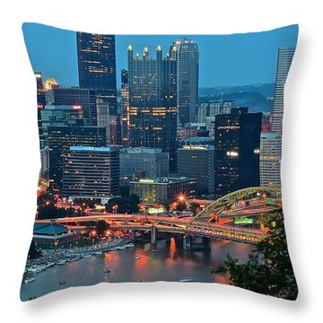 Blue Hour In Pittsburgh Throw Pillow