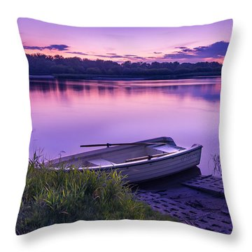 Blue Hour On The Vistula River Throw Pillow