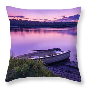 Blue Hour On The Vistula River Throw Pillow