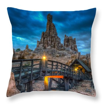 Blue Hour Over Big Thunder Mountain Throw Pillow