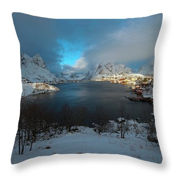 Blue Hour Over Reine Throw Pillow