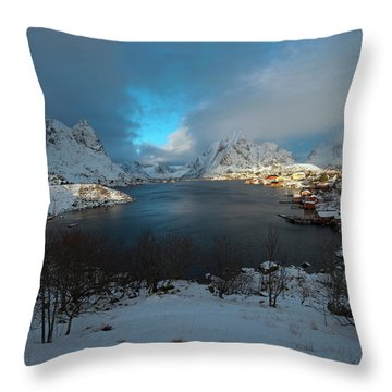 Throw Pillow featuring the photograph Blue Hour Over Reine by Dubi Roman