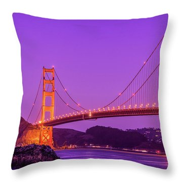 Golden Gate Bridge In The Blue Hour Throw Pillow