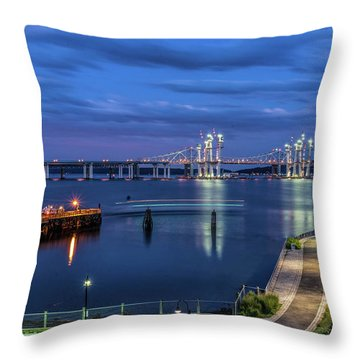 Blue Hour Over The Hudson Throw Pillow by Jeffrey Friedkin