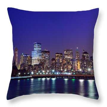 Blue Hour Panorama New York World Trade Center With Freedom Tower From Liberty State Park Throw Pillow