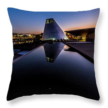 Blue Hour Reflections On Glass Throw Pillow