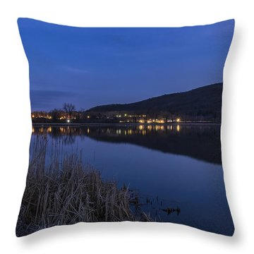 Blue Hour Retreat Meadows Throw Pillow by Tom Singleton