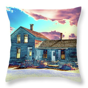 Throw Pillow featuring the photograph Blue House by Jim and Emily Bush