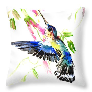 Blue Hummingbird Throw Pillow