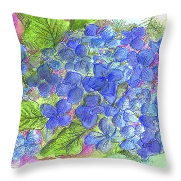 Throw Pillow featuring the painting Blue Hydrangea by Cathie Richardson