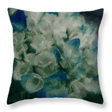 Throw Pillow featuring the photograph Blue Hydrangea by Cathy Donohoue