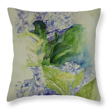 Blue Hydrangea Throw Pillow by Lizzy Forrester