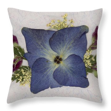 Blue Hydrangea Pressed Floral Design Throw Pillow