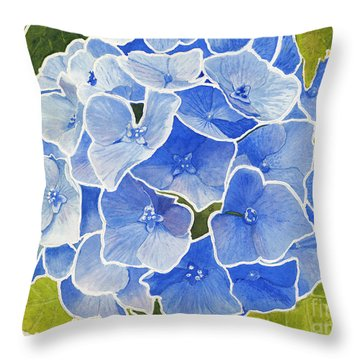 Blue Hydrangea Stained Glass Look Throw Pillow
