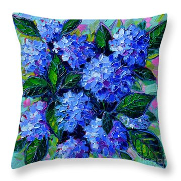 Blue Hydrangeas - Abstract Floral Composition Throw Pillow
