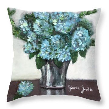 Blue Hydrangea's In Silver Vase Throw Pillow