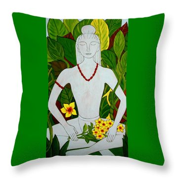 Throw Pillow featuring the painting Blue Idol by Stephanie Moore