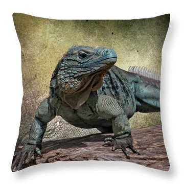 Blue Iguana Throw Pillow