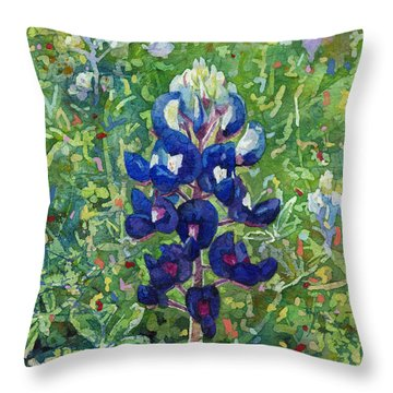 Throw Pillow featuring the painting Blue In Bloom 2 by Hailey E Herrera