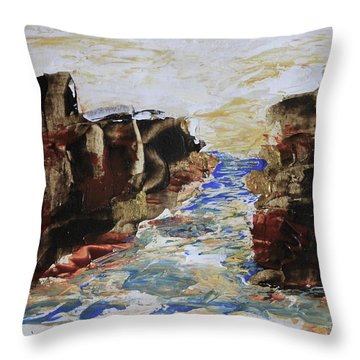 Blue Inlet Abstract Throw Pillow