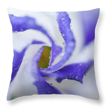 Throw Pillow featuring the photograph Blue Inspiration. Lisianthus Flower Macro by Jenny Rainbow