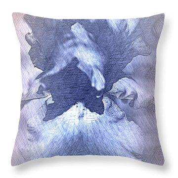 Blue Iris Abstract Throw Pillow