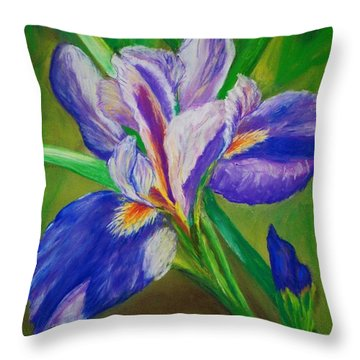 Throw Pillow featuring the painting Blue Iris by Debbie Baker