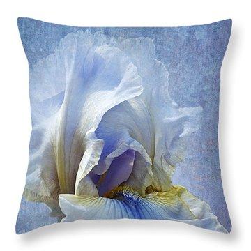 Blue Iris Fog Throw Pillow