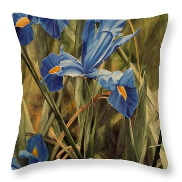 Throw Pillow featuring the painting Blue Iris by Laurie Rohner