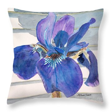Throw Pillow featuring the painting Blue Iris by LeAnne Sowa