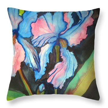 Throw Pillow featuring the painting Blue Iris by Lil Taylor