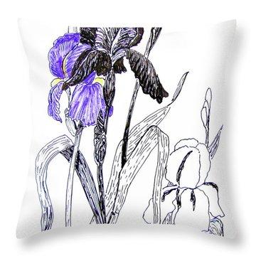 Blue Iris Throw Pillow by Marilyn Smith