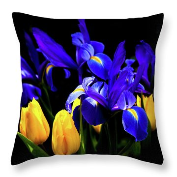 Blue Iris Waltz By Karen Wiles Throw Pillow by Karen Wiles