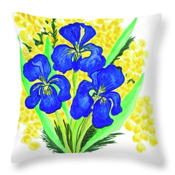 Blue Irises And Mimosa Throw Pillow