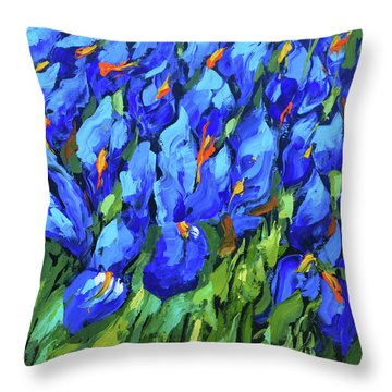 Blue Irises Throw Pillow