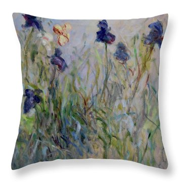 Blue Irises In The Field, Painted In The Open Air  Throw Pillow by Pierre Van Dijk