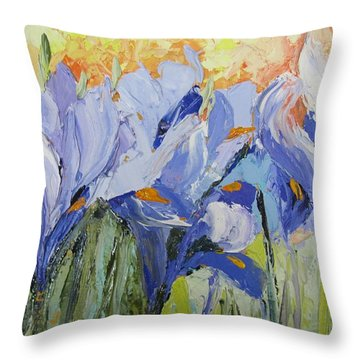 Blue Irises Palette Knife Painting Throw Pillow