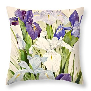Blue Irises-posthumously Presented Paintings Of Sachi Spohn  Throw Pillow